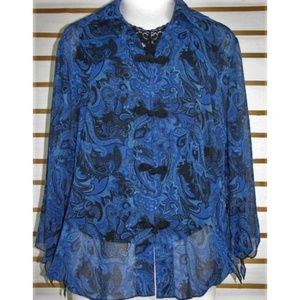 Sheer Asian styled frog buttoned blouse EUC